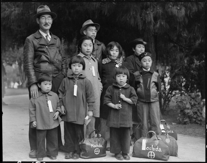 Photograph of Members of the Mochida Family Awaiting Evacuation